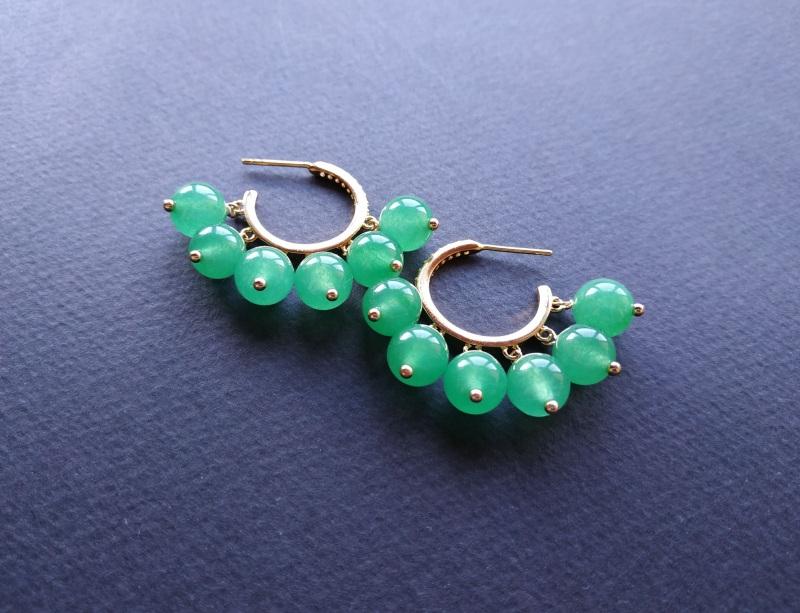 Сережки з колекції «Éblouissant» Арт. E23719Ébl Зелений Зелений агат, кристали Sw Богомолова Світлана - фото 11