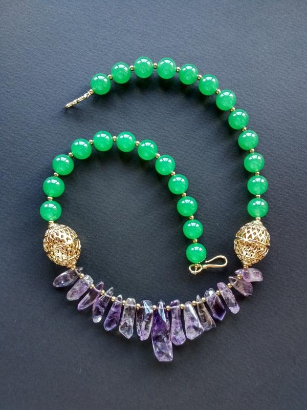Ожерелье из коллекции «Hortense in the arms Artichoke»  Арт. N027HAA  Зеленый агат, аметист, ла Богомолова Светлана - фото 12