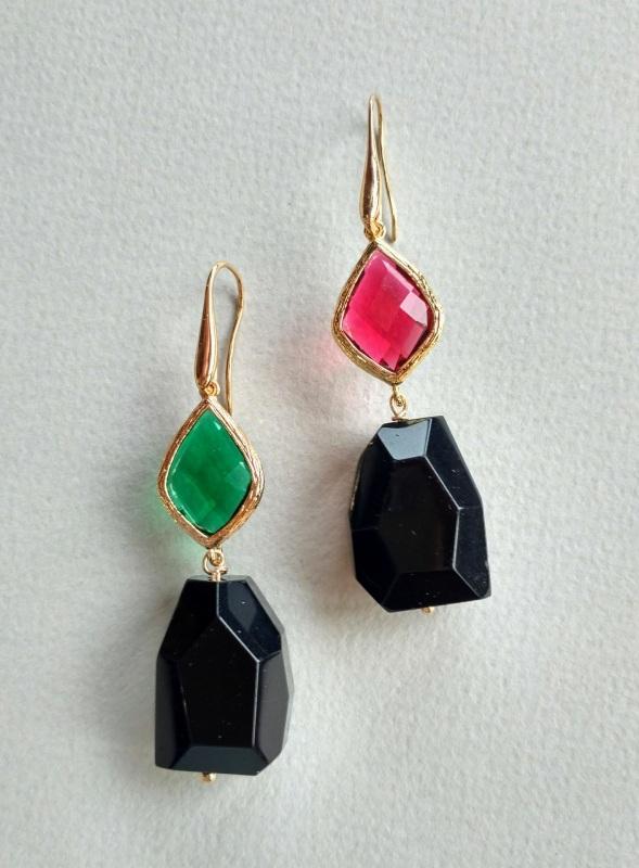 Серьги из коллекции «Orchidee Noir» Арт. E218ON Разноцветный Черный оникс, витражи, ла Богомолова Светлана - фото 3