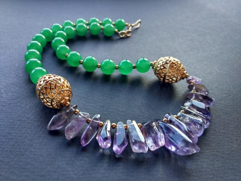 Ожерелье из коллекции «Hortense in the arms Artichoke»  Арт. N027HAA  Зеленый агат, аметист, ла Богомолова Светлана - фото 1