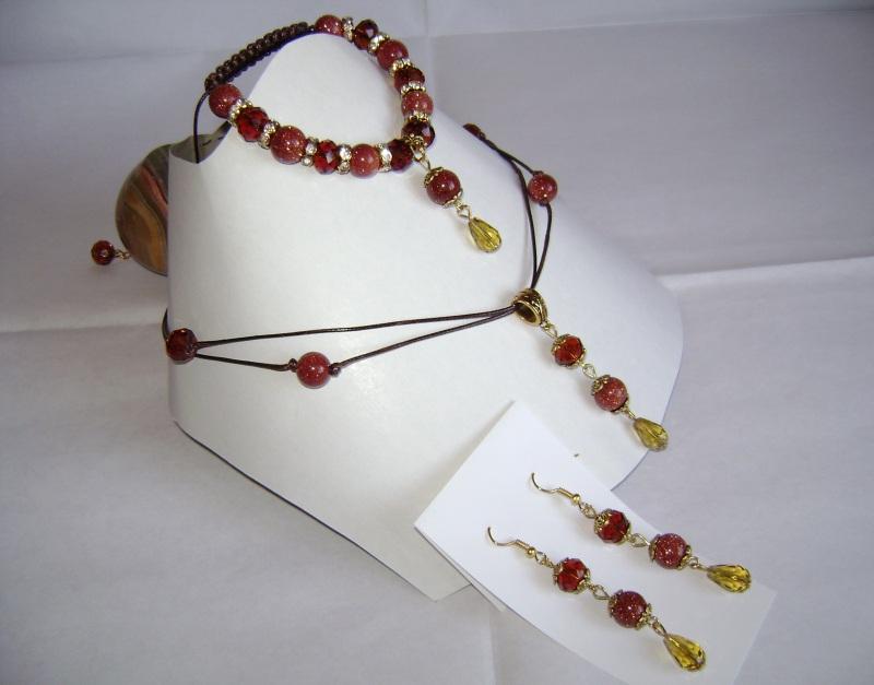 """Комплект (браслет, серьги, кулон) """"Медовый-1""""  Изготовлен из натуральных Бойко Анна - фото 1"""