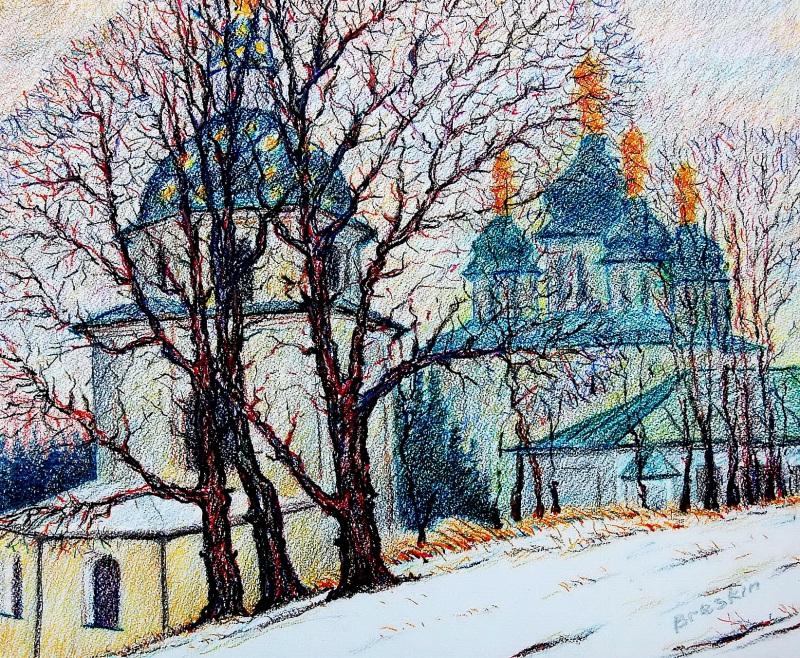 Выдубицкий монастырь. Киев  Фактурная бумага, акварел Брескин Александр - фото 1
