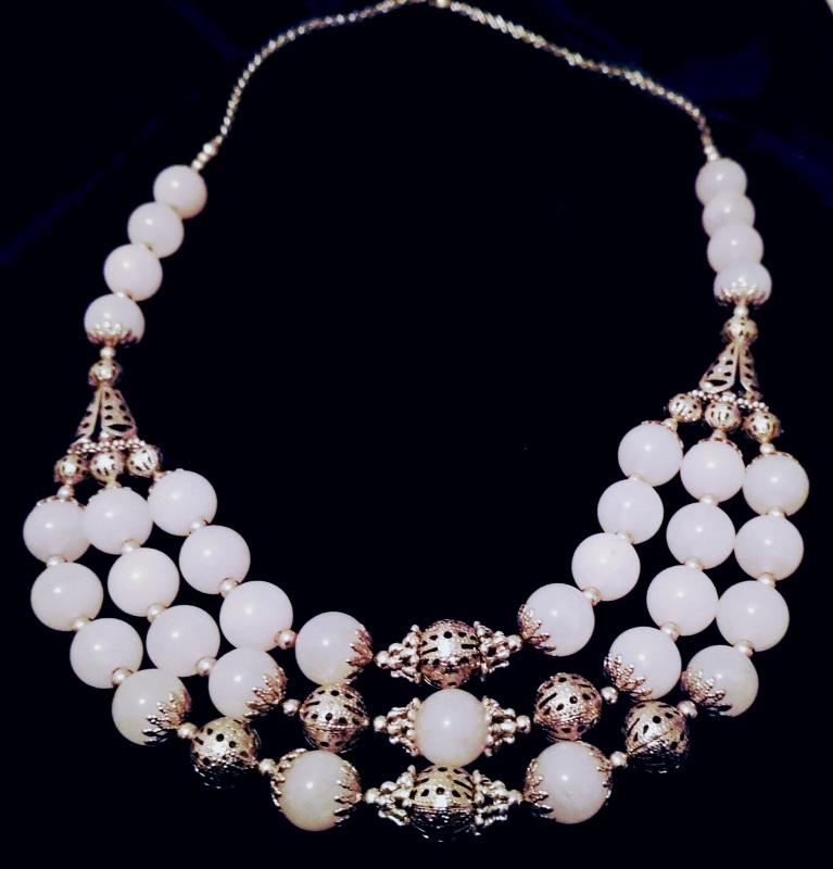 Ажурное ожерелье Белый Розовый кварц, металличес Буслова Анна - фото 1