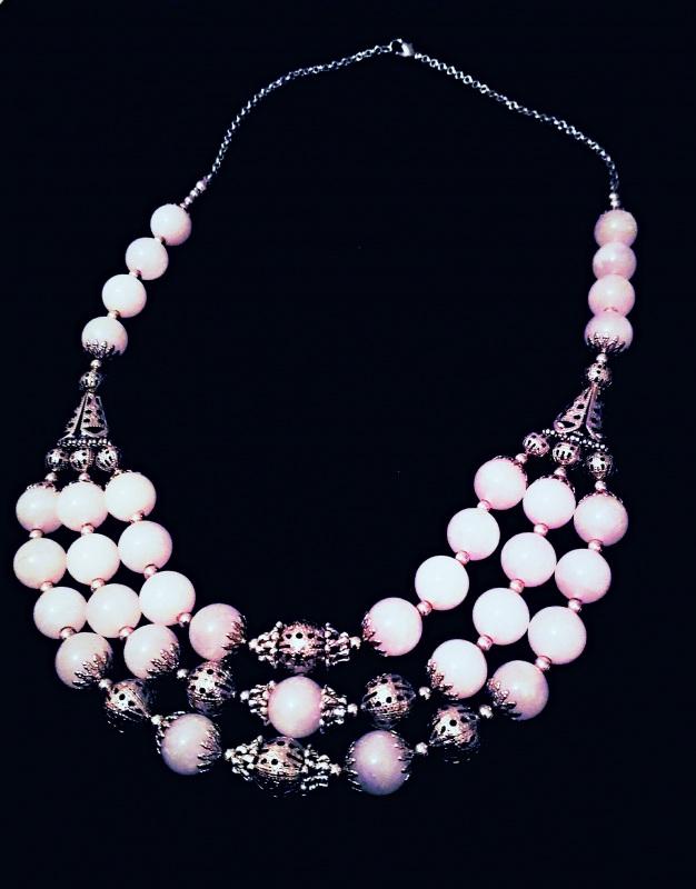 Ажурное ожерелье Белый Розовый кварц, металличес Буслова Анна - фото 2