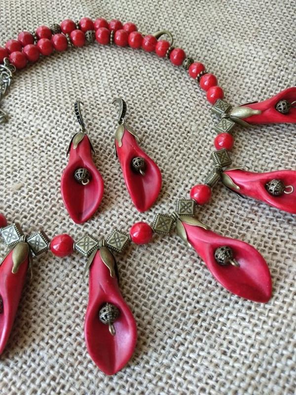 Каллы Красный Фурнитура бронзового цвет Черняк Елена - фото 4