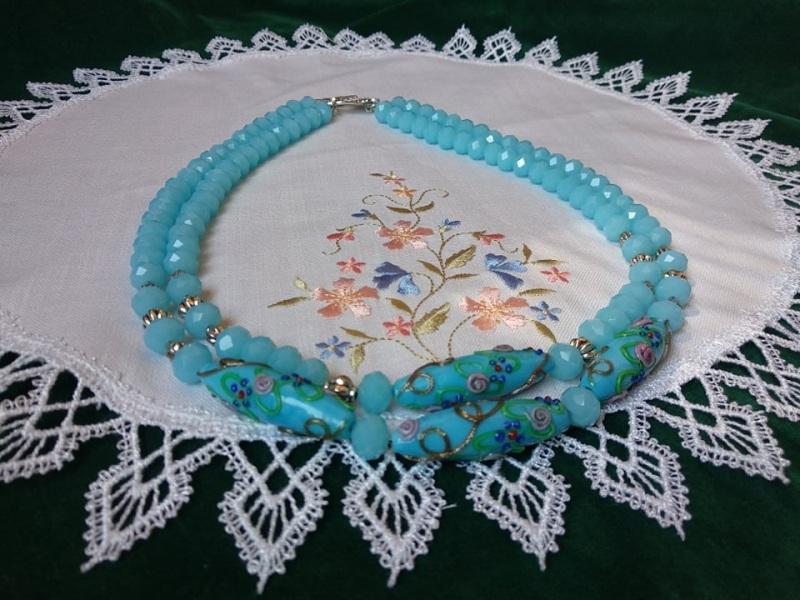 Небесные паутинки Голубой стеклянные бусины lampwor Черняк Елена - фото 1
