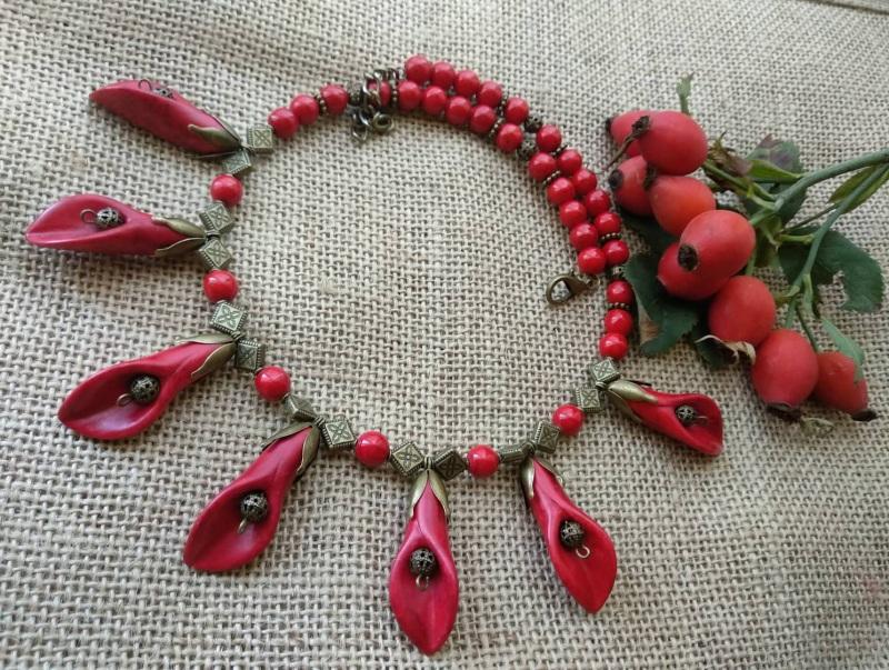 Каллы Красный Фурнитура бронзового цвет Черняк Елена - фото 2