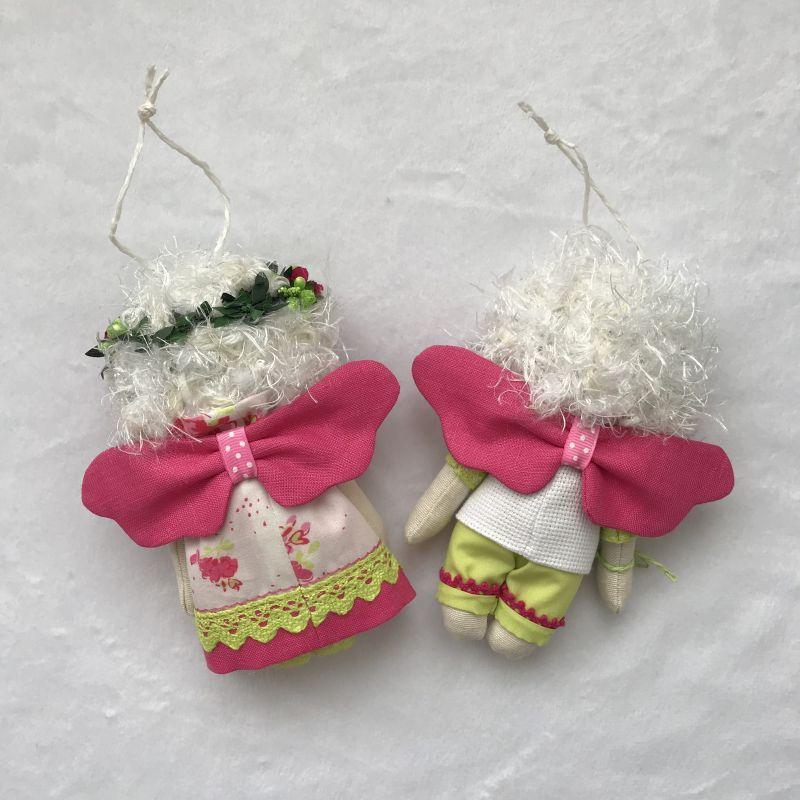 Парочка малиновых ангелочков   Хлопок , лён , бумажные ц DOLLka мастерская декора - фото 4