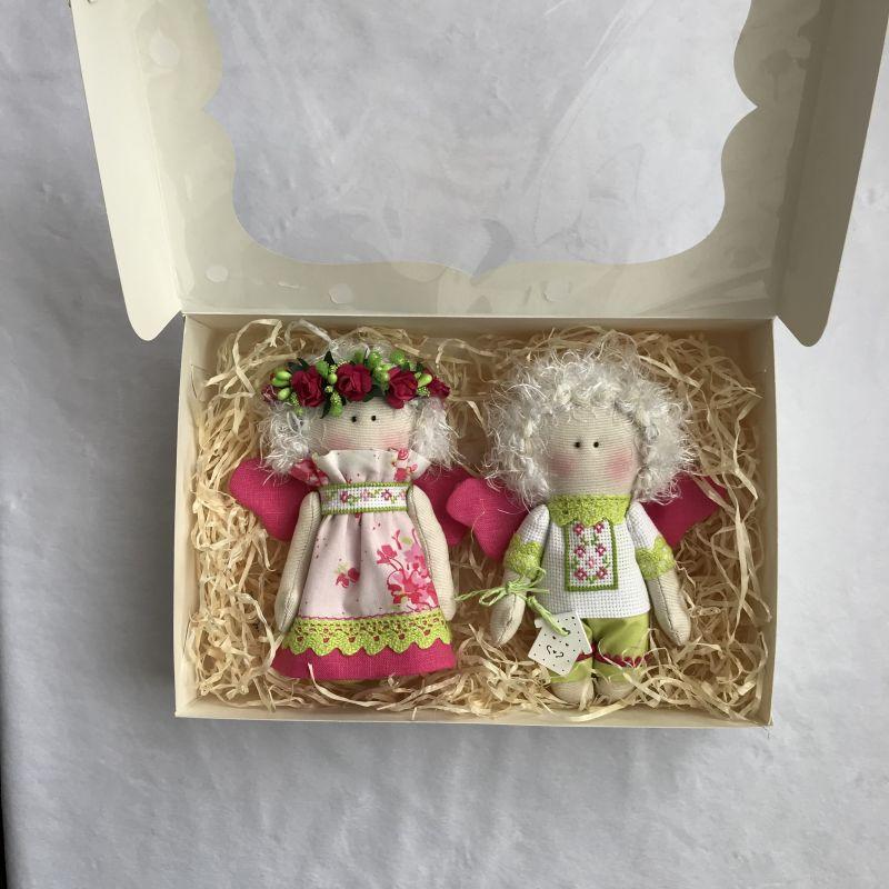 Парочка малиновых ангелочков   Хлопок , лён , бумажные ц DOLLka мастерская декора - фото 5