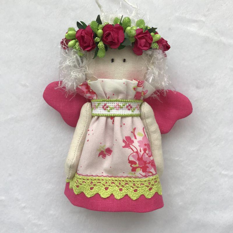 Парочка малиновых ангелочков   Хлопок , лён , бумажные ц DOLLka мастерская декора - фото 2