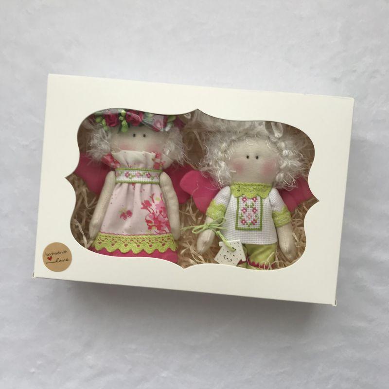 Парочка малиновых ангелочков   Хлопок , лён , бумажные ц DOLLka мастерская декора - фото 6