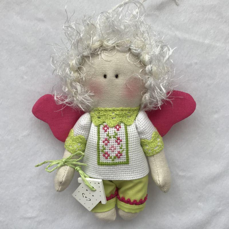 Парочка малиновых ангелочков   Хлопок , лён , бумажные ц DOLLka мастерская декора - фото 3