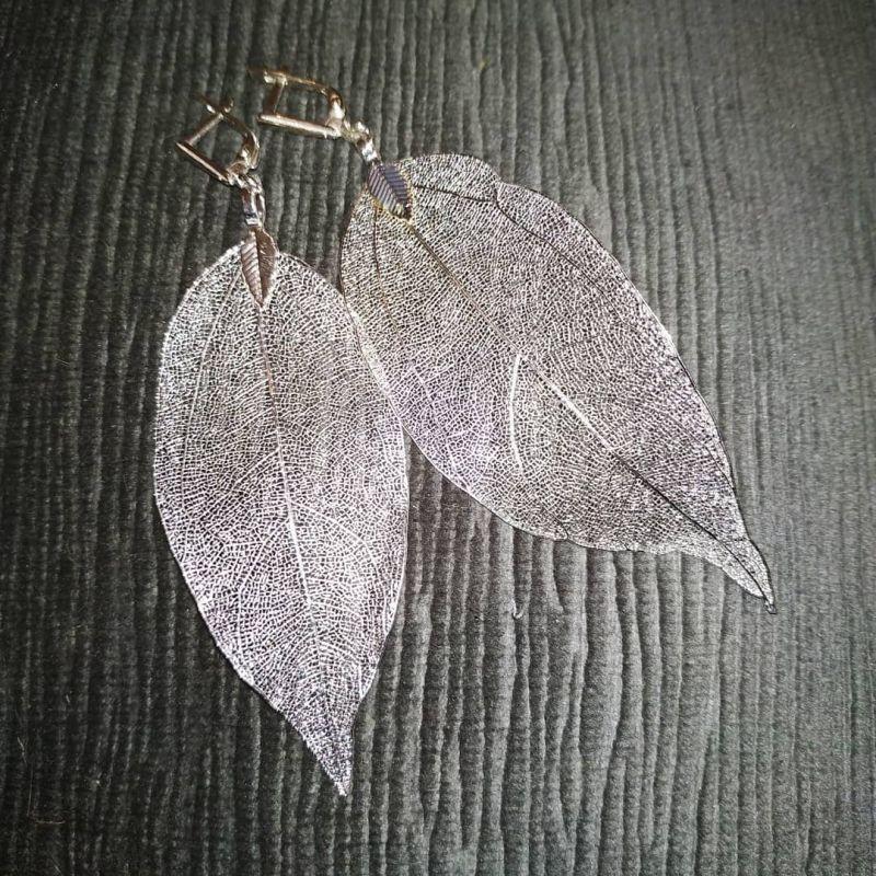 Серьги листья серебро Белый Листья природные. Замки а Чирко Елена - фото 2