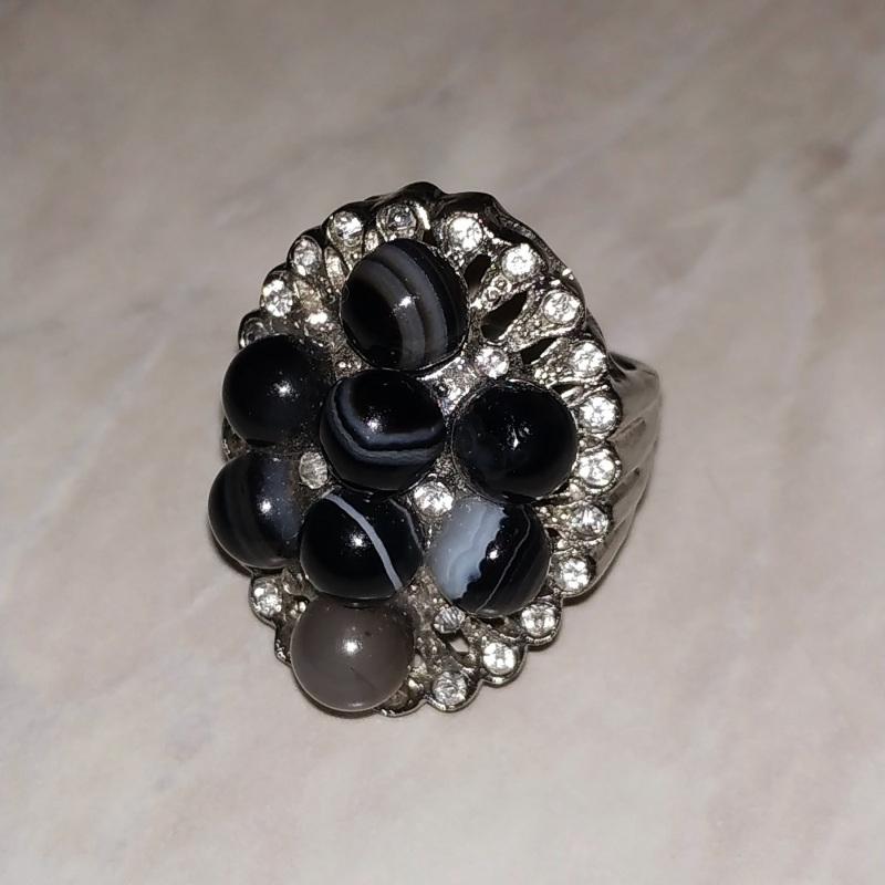 """Кольцо с черным агатом (ониксом) """"Магда"""" Черный Натуральный черный агат ( Чирко Елена - фото 2"""