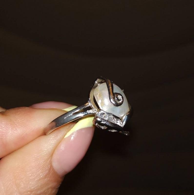 Кольцо с натуральным барочным жемчугом 19 размер.  Натуральный барочный жемч Чирко Елена - фото 3