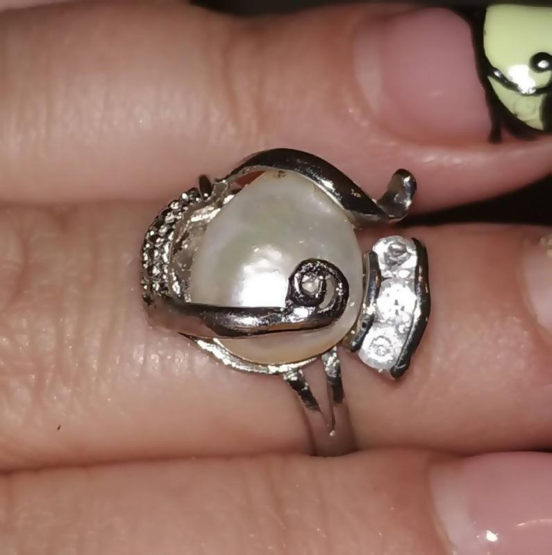 Кольцо с натуральным барочным жемчугом 19 размер.  Натуральный барочный жемч Чирко Елена - фото 2