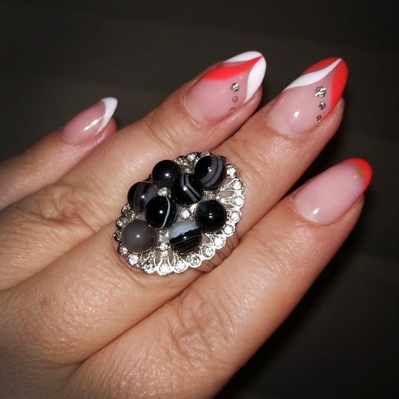 """Кольцо с черным агатом (ониксом) """"Магда"""" Черный Натуральный черный агат ( Чирко Елена - фото 1"""