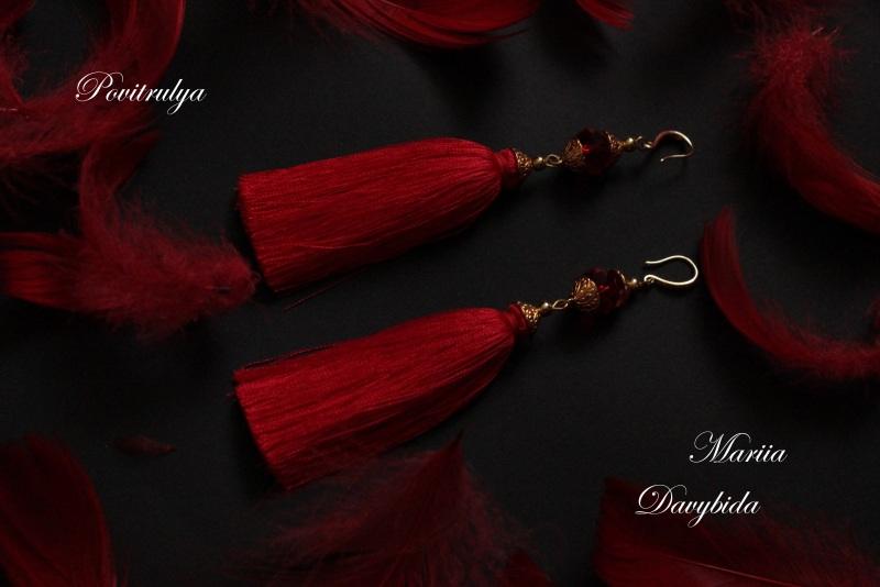Серьги Танго Красный Серьги изготовлены из шел Давибида Мария - фото 1
