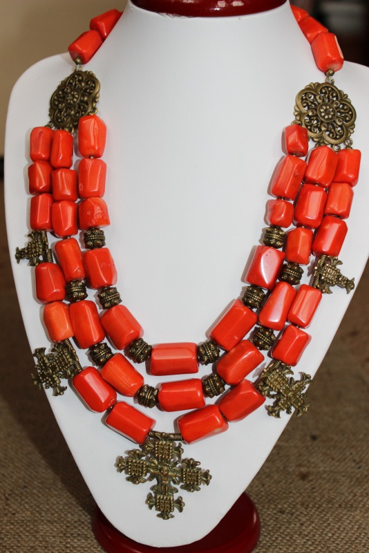 Гуцулия Красный Ожерелье изготовлено из к Давибида Мария - фото 1