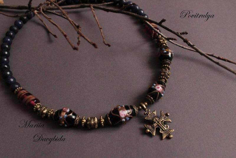 Ежевичная осень Черный Ожерелье выполнено из вен Давибида Мария - фото 1