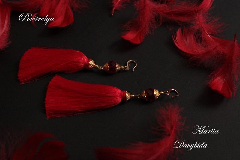 Серьги Танго Красный Серьги изготовлены из шел Давибида Мария - фото 2