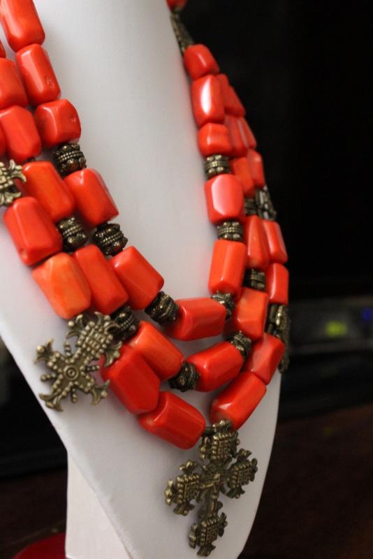 Гуцулия Красный Ожерелье изготовлено из к Давибида Мария - фото 2