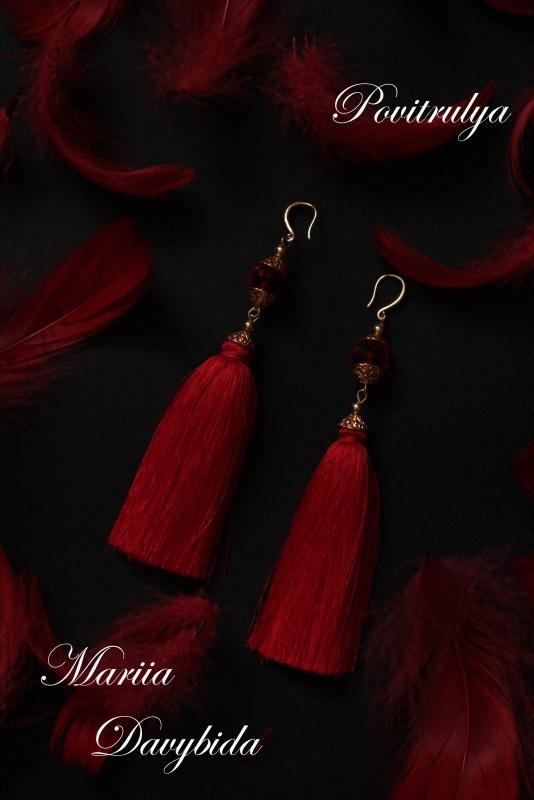 Серьги Танго Красный Серьги изготовлены из шел Давибида Мария - фото 3