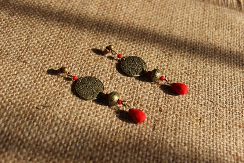 Скифские узоры Красный Серьги изготовлены из бро Давибида Мария - фото 2