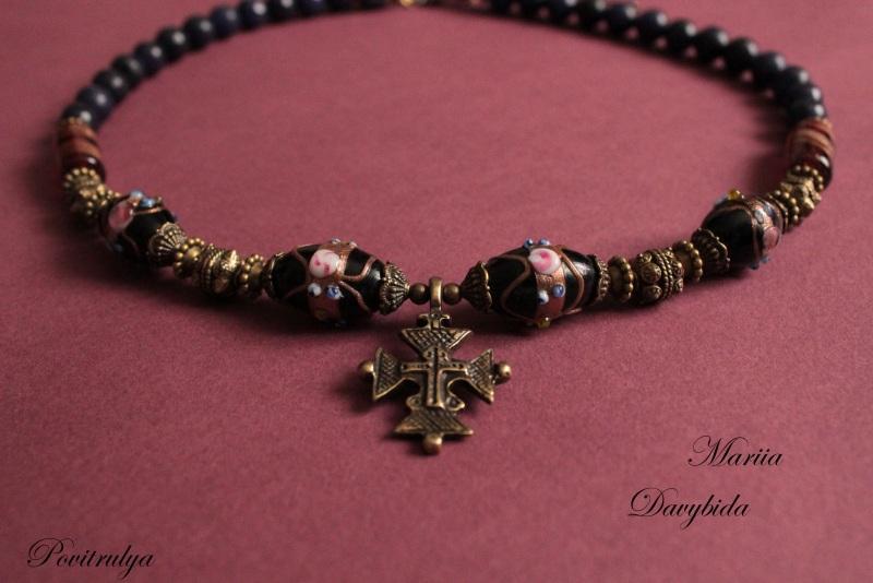 Ежевичная осень Черный Ожерелье выполнено из вен Давибида Мария - фото 3