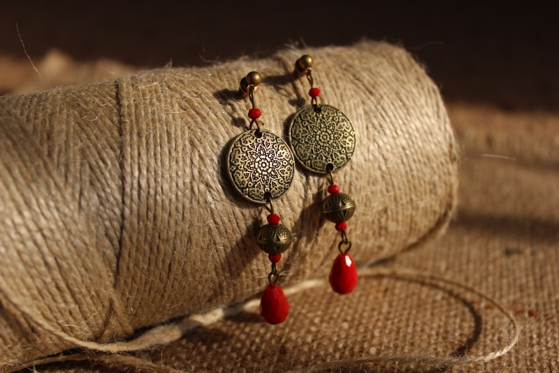 Скифские узоры Красный Серьги изготовлены из бро Давибида Мария - фото 1