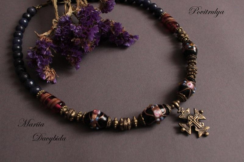 Ежевичная осень Черный Ожерелье выполнено из вен Давибида Мария - фото 2