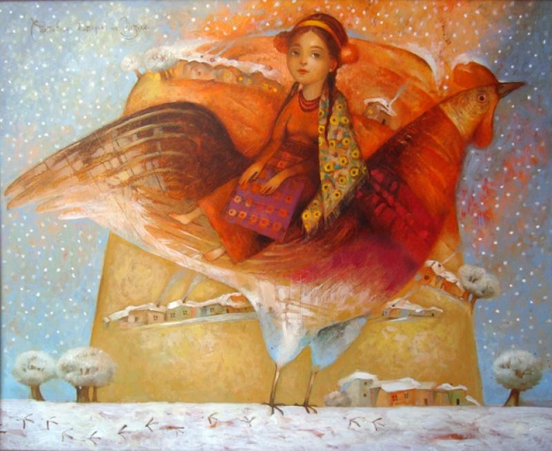 Святочные катания на петуху  холст, масло Деревьянко Наталия - фото 1