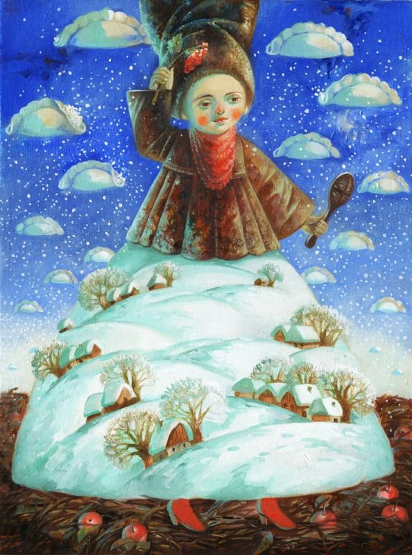 Зима-волшебница, словно царица  холст, масло Деревьянко Наталия - фото 1