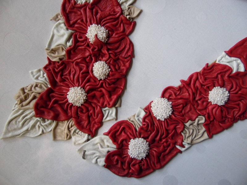 Пояс-модница Красный кожа, бисер Добровольская Каринэ - фото 5