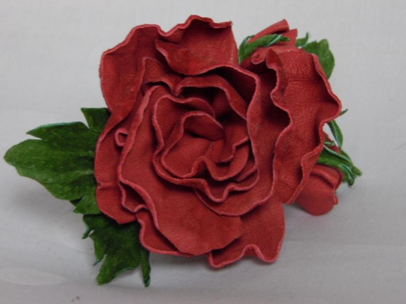 Заколка-красавица Красный кожа Добровольская Каринэ - фото 3