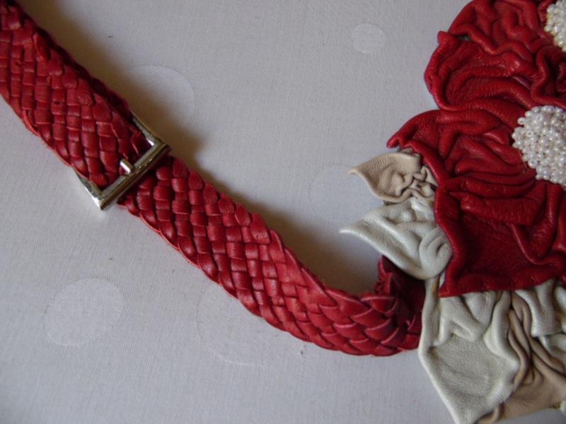 Пояс-модница Красный кожа, бисер Добровольская Каринэ - фото 4
