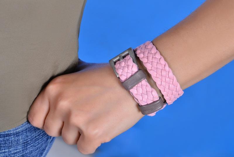 Плетеный браслет Розовый кожа Добровольская Каринэ - фото 2