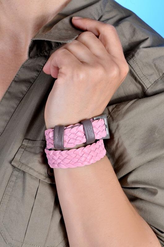 Плетеный браслет Розовый кожа Добровольская Каринэ - фото 1