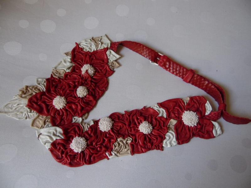 Пояс-модница Красный кожа, бисер Добровольская Каринэ - фото 3