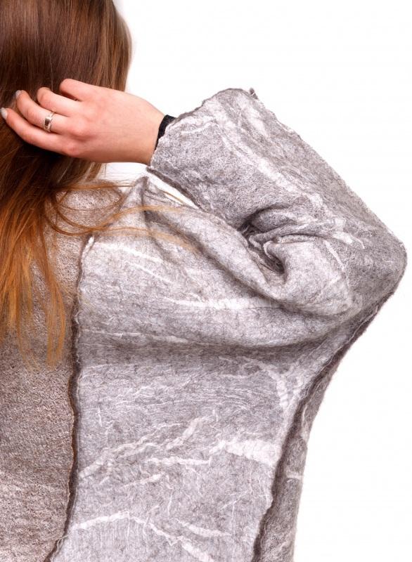 Кардиган из шерсти и шелка Серый Шерсть для валяния, марге Домбровская Лариса - фото 2