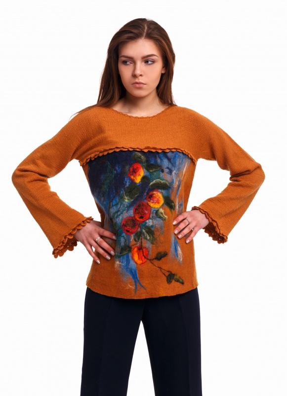 Свитер Оранжевый Пряжа - меринос экстра фа Домбровская Лариса - фото 1