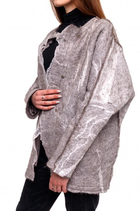 Кардиган из шерсти и шелка Серый Шерсть для валяния, марге Домбровская Лариса - фото 1