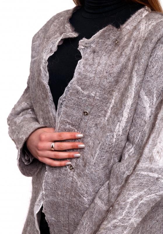 Кардиган из шерсти и шелка Серый Шерсть для валяния, марге Домбровская Лариса - фото 5