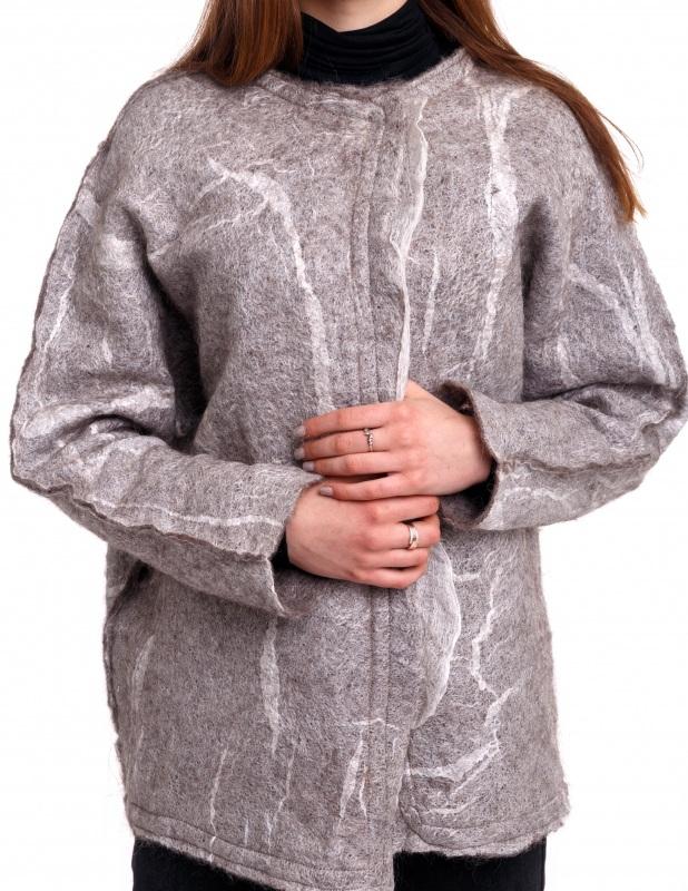 Кардиган из шерсти и шелка Серый Шерсть для валяния, марге Домбровская Лариса - фото 4