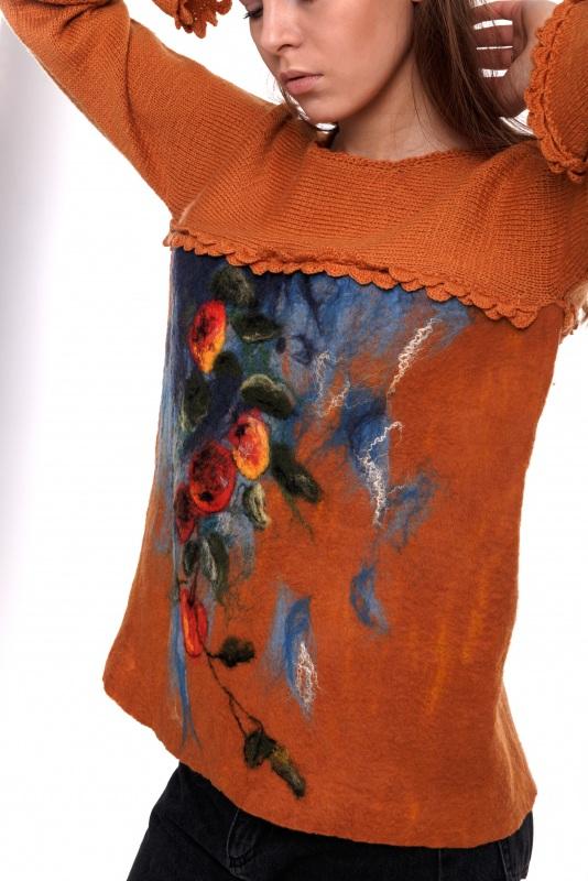 Свитер Оранжевый Пряжа - меринос экстра фа Домбровская Лариса - фото 2