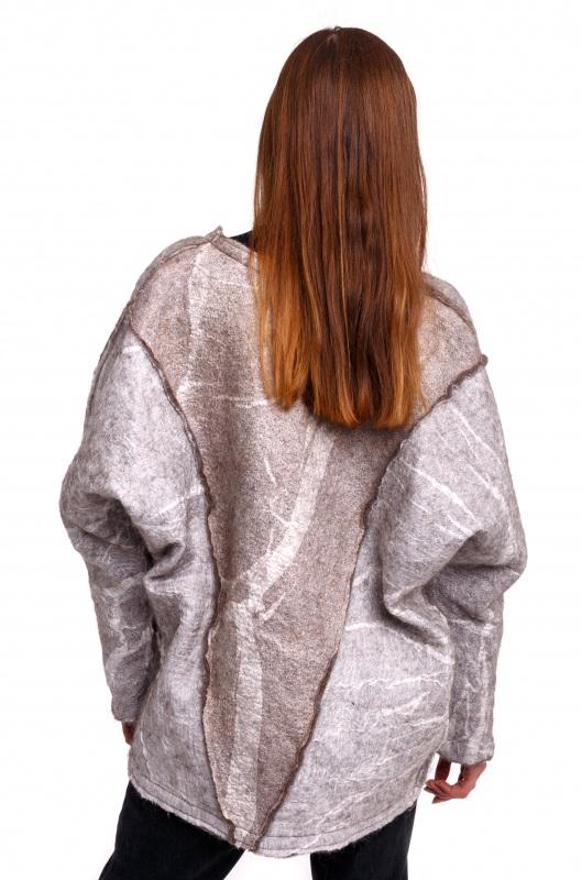 Кардиган из шерсти и шелка Серый Шерсть для валяния, марге Домбровская Лариса - фото 3