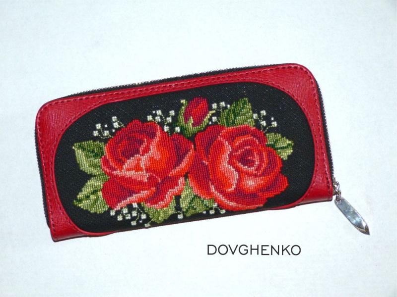 """Кошелек """"Две розы"""" Красный натуральная кожа, полотно Довженко Мария - фото 1"""