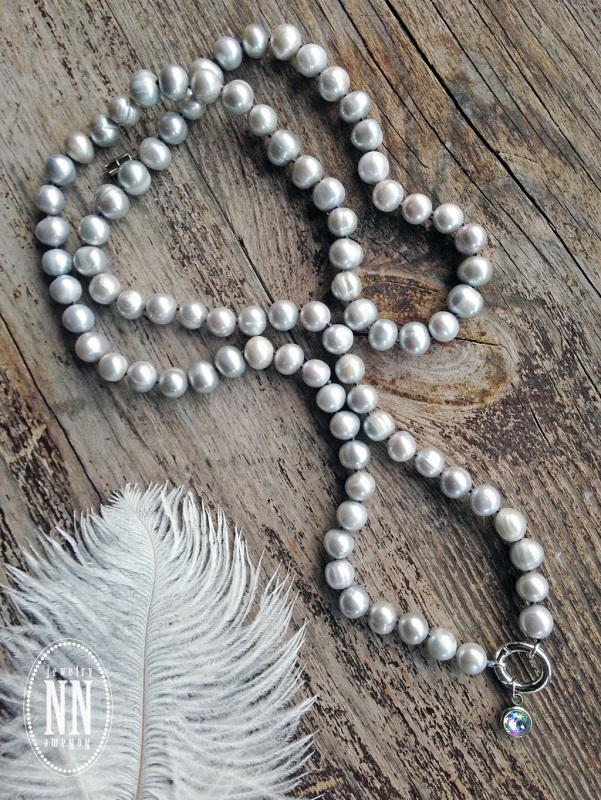 Колье из серебристого жемчуга Серый жемчуг, горный хрусталь Дробязко Наталья - фото 6