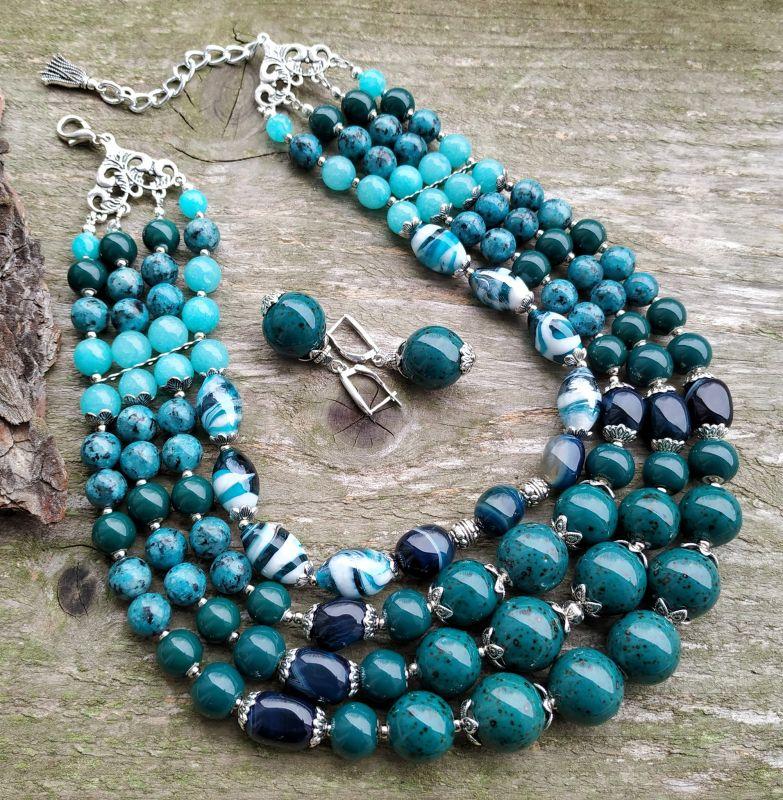 """Ожерелье """"Глубины океана"""" (керамика, агат, хризоколла, кварц) Бирюзовый керамика, агат, хризоколл Дзюба Христина - фото 1"""