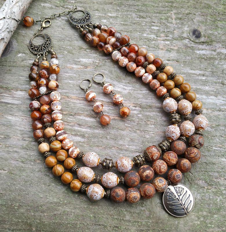 """Ожерелье """"Уснули травы до весны"""" (агат, керамика, яшма) Разноцветный агат Дзи, керамика, пейза Дзюба Христина - фото 1"""